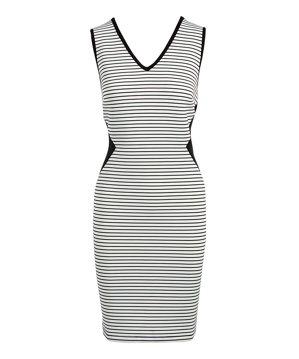 Carmen by Carmen Marc Valvo Black   White Stripe Midi Dress - Women ... 8a6f5bfec5