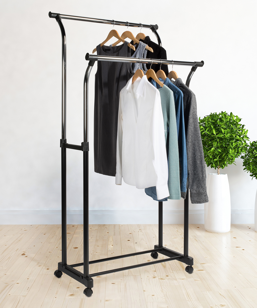 Richards Homewares  Hangers CHROME - Chrome Two-Tier Rolling Clothing Rack Chrome Two-Tier Rolling Clothing Rack. Keep your clothes wrinkle-free with this sleek clothing rack designed with two tiers for extra storage and an adjustable height for a just-right size.34'' W x 67'' H x 21'' DAdjustableChromeImported