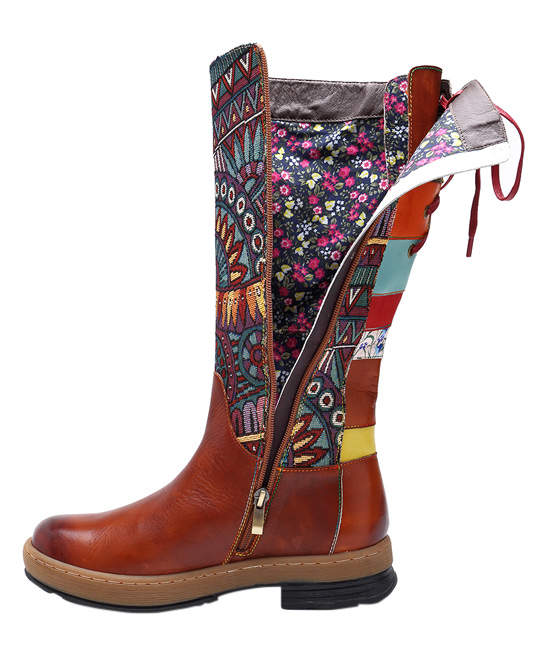 aabcbcdf3ee Soffia Brown Geometric Lace-Up Back Leather Boot - Women
