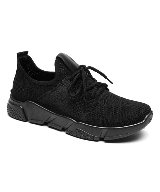Fashion Sport Women's Sneakers Black - Black Mesh Accent Sneaker - Women