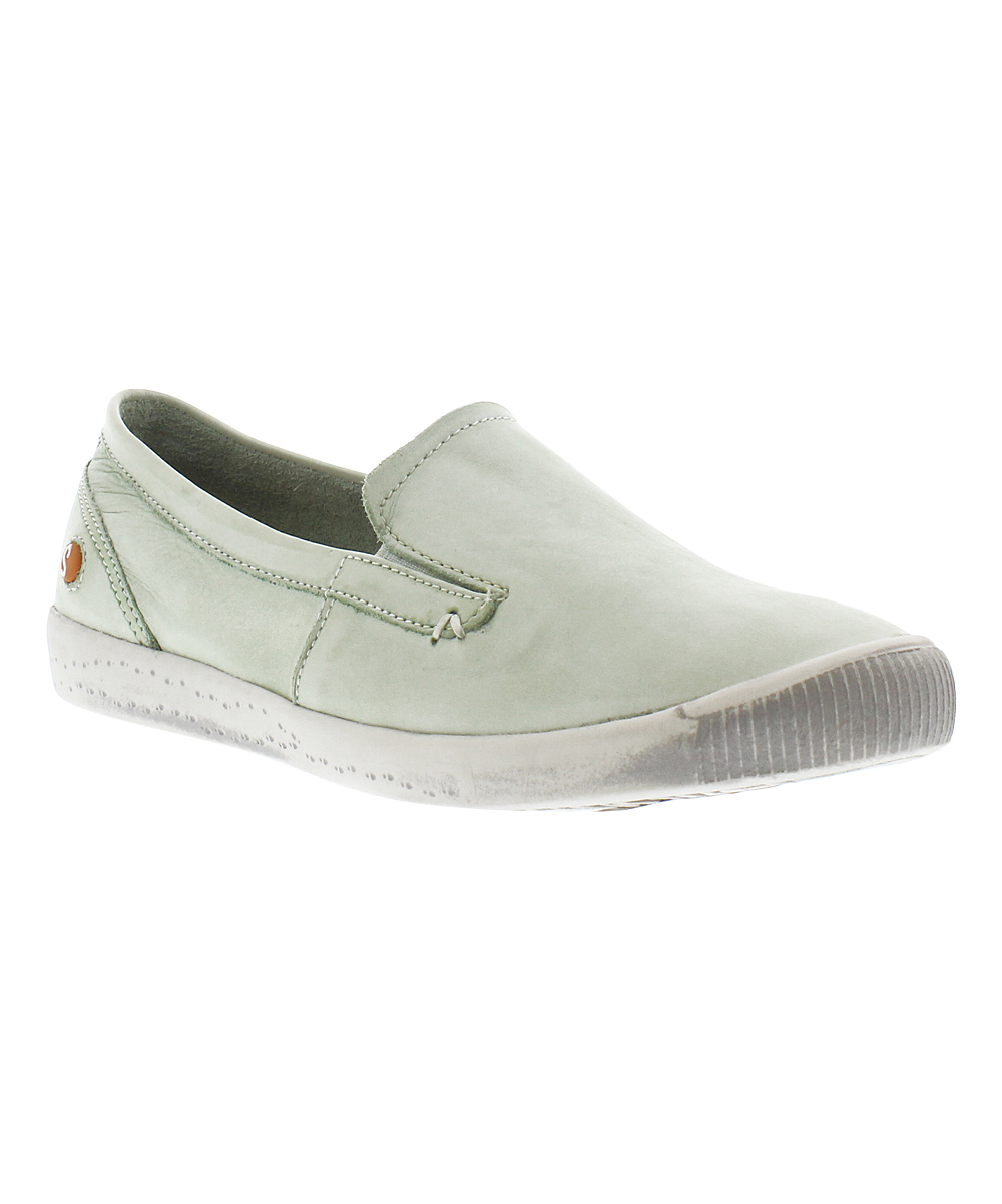 Softinos Ita Pastel Slip Green Sneaker Women Washed Leather On cq4A5Rj3L