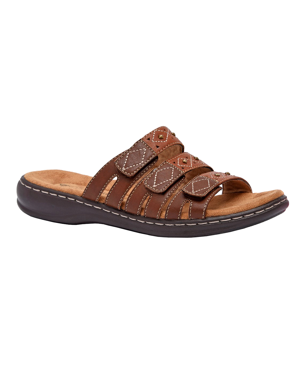 386542a18 Cushionaire Brown Three-Strap Birdey Sandal - Women