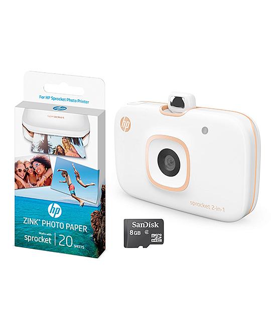 White Sprocket 2-in-1 Bluetooth Camera/Printer Set