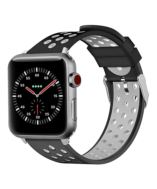 Waloo  Replacement Bands Black/Grey - Black & Gray Breathable Sport Band for Apple Watch 1/2/3/4