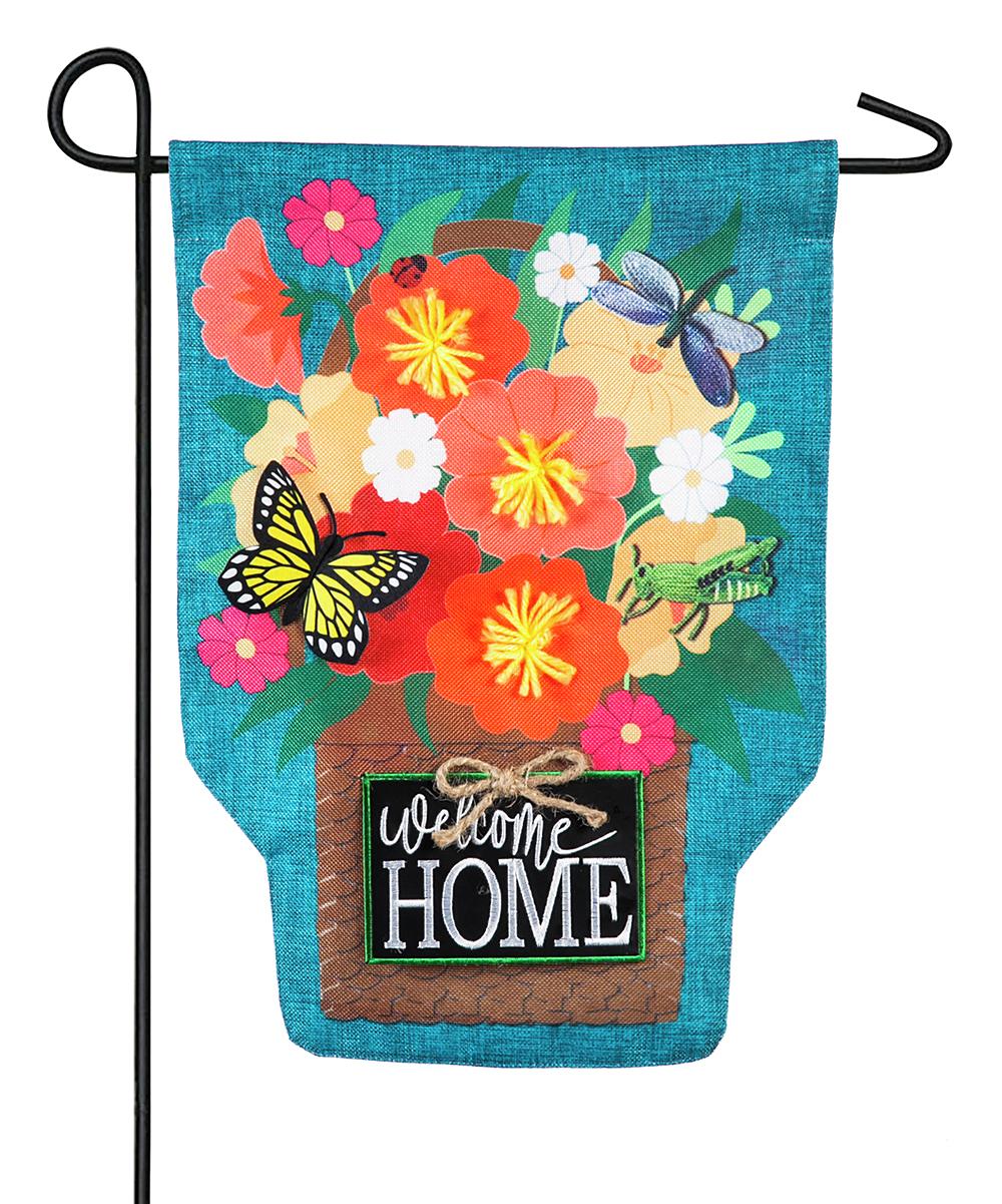 'Welcome Home' Bouquet Burlap Outdoor Flag