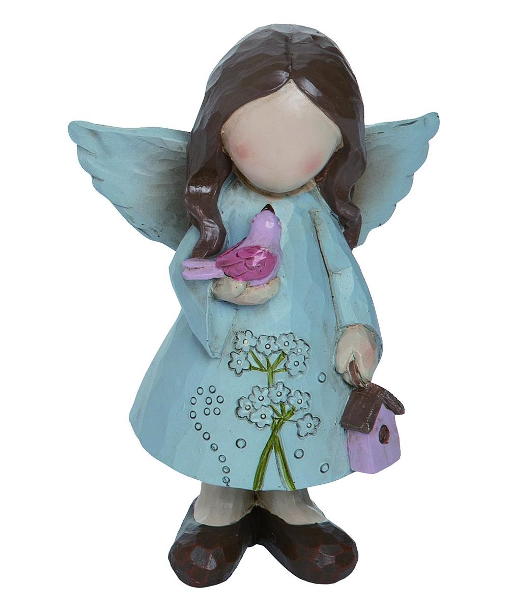 Blue Flower Angel Figurine