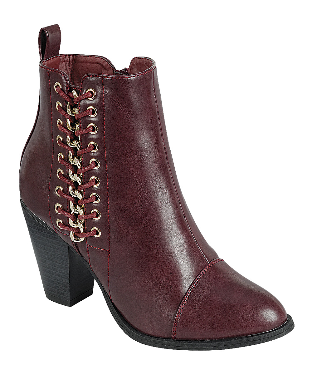 Forever Link Shoes Girls' Casual boots  - Wine Lace-Up Camila Bootie