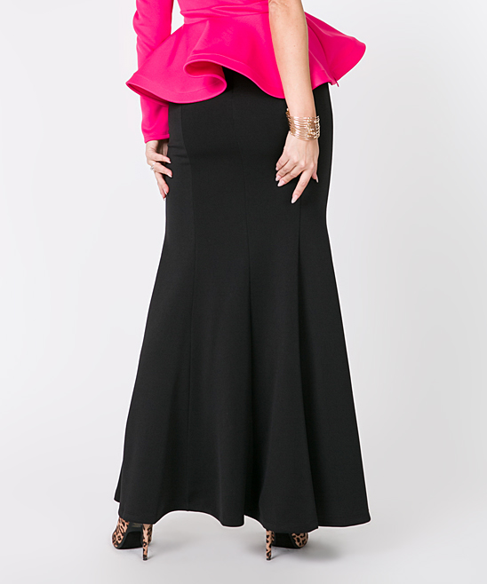 d644c40832 ... Womens BLACK Black Trumpet Maxi Skirt - Alternate Image 2 ...