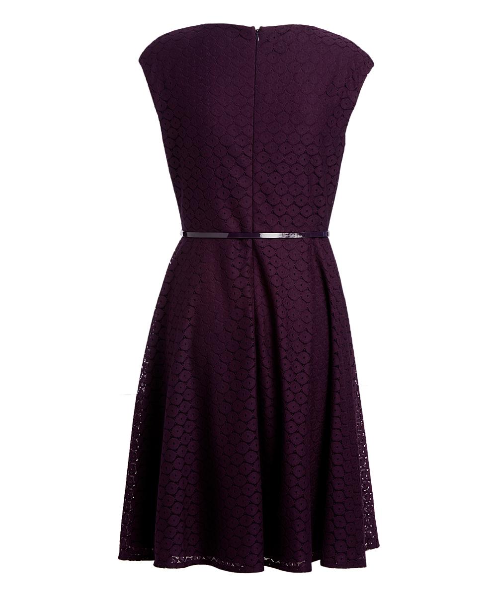 57c20909b294e Black Label By Evan Picone Concord Lace Belted Surplice Dress