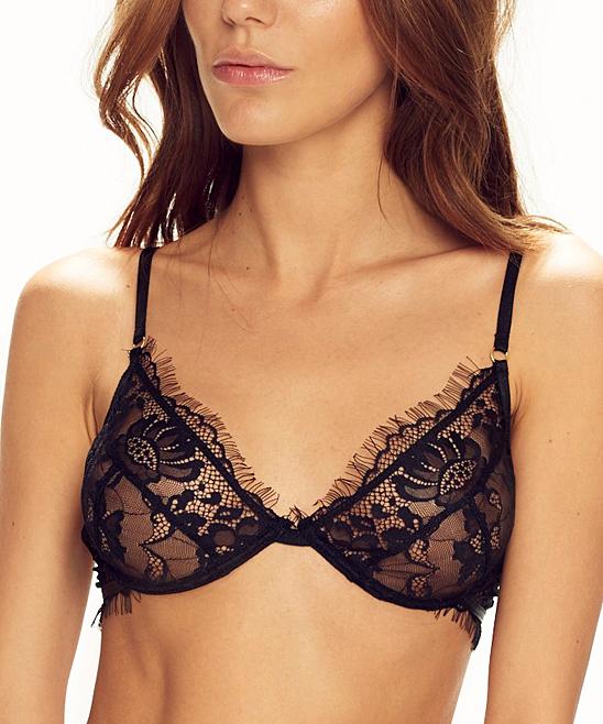 d7f3e52b818e25 CAPRICE® Natural Fashion Black Floral-Lace Sheer Fringe Underwire ...
