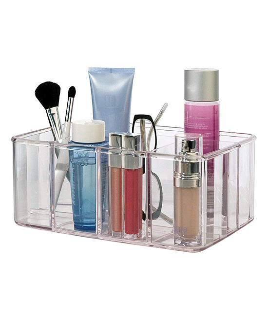 Vanity Organizer Vanity Organizer. Keep cosmetics neatly arranged with this convenient, spacious organizer crafted from durable material. 9.75'' W x 6.75'' H x 4.13'' DAcrylic
