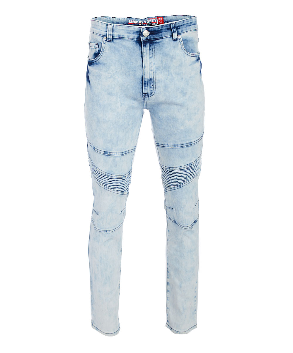 Ice Blue Fashion Motto Stretch Jeans - Men Ice Blue Fashion Motto Stretch Jeans - Men. Give him the gift of style with this uniquely designed pair of jeans that have a hint of stretch. 98% cotton / 2% spandexMachine washImported