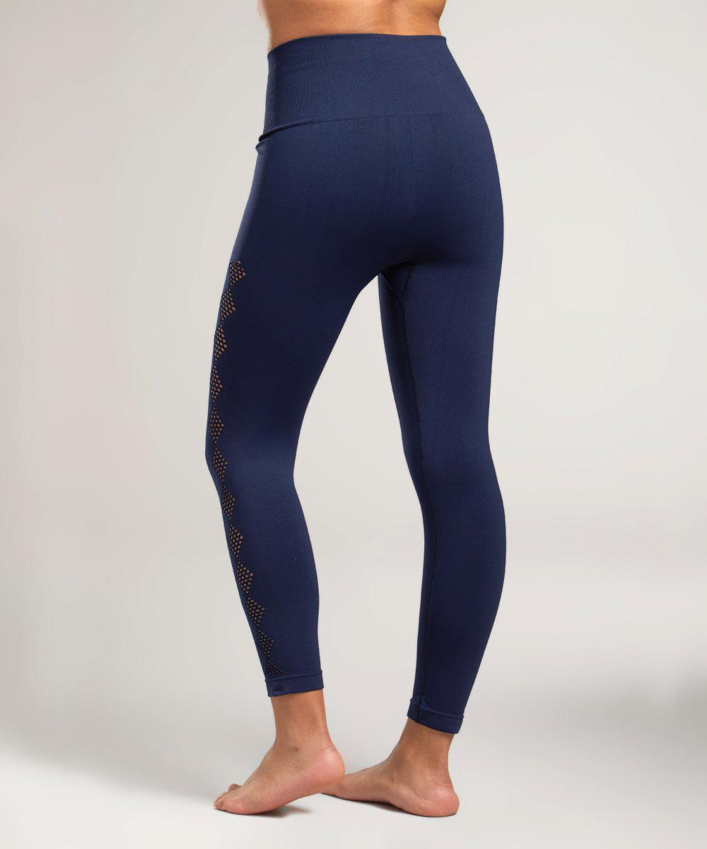 2e259cb583 TEMA Athletics Navy Scallop Tummy Control High-Waist Leggings ...