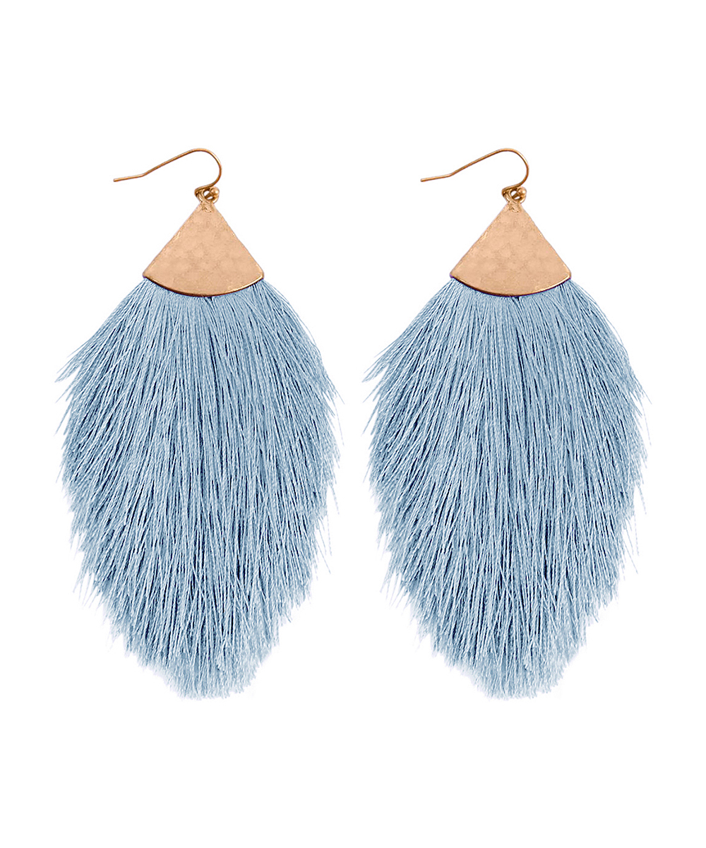 Baby Blue & Goldtone Tassel Drop Earrings Baby Blue & Goldtone Tassel Drop Earrings. Fluttering fringes add a playful air to this pair of drop earrings boasting a lovely tassel design accentuated for by bright hue for effortless appeal. 1'' W x 3'' HBase metal / polyesterImported