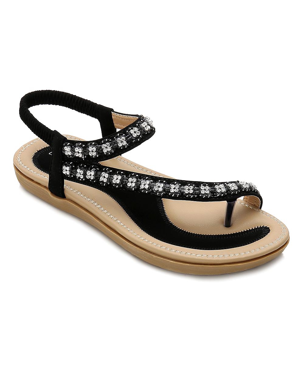 94309239447 Siketu Black Rhinestone Cord Sandal - Women