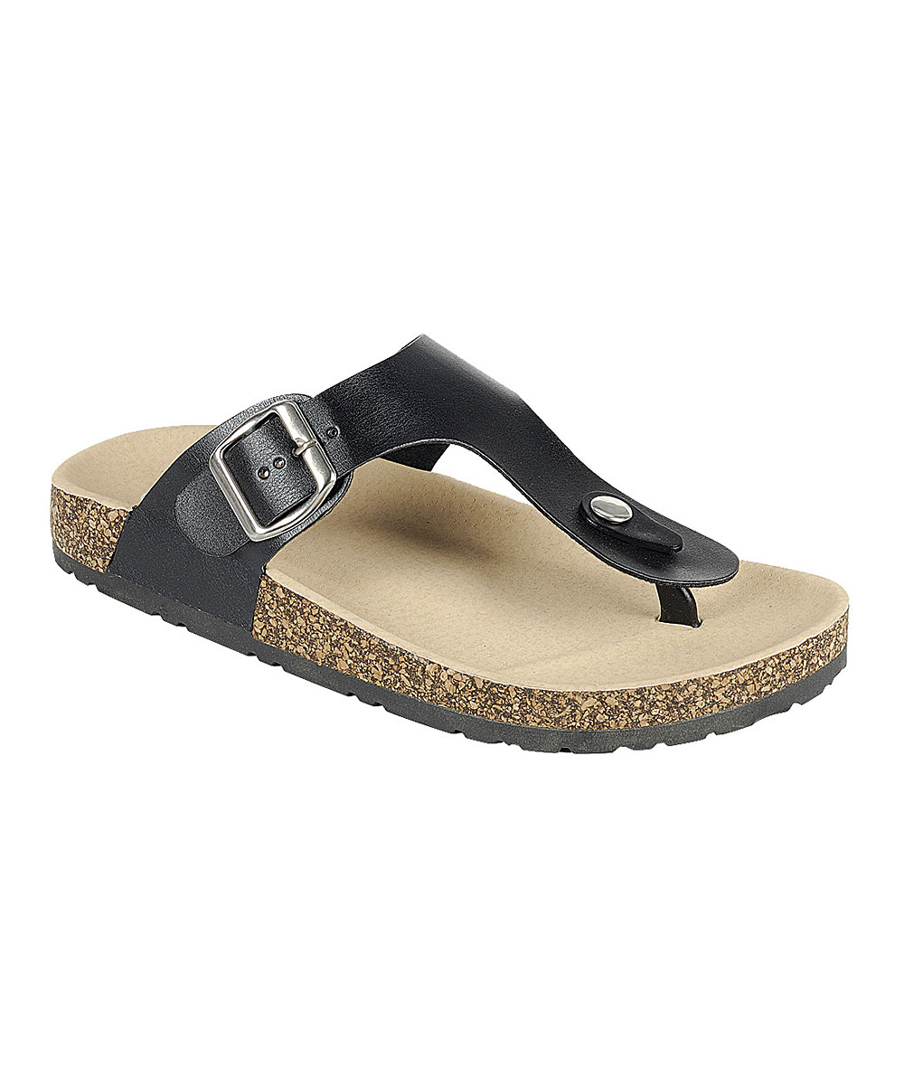 Black Buckle T Birken Sandal
