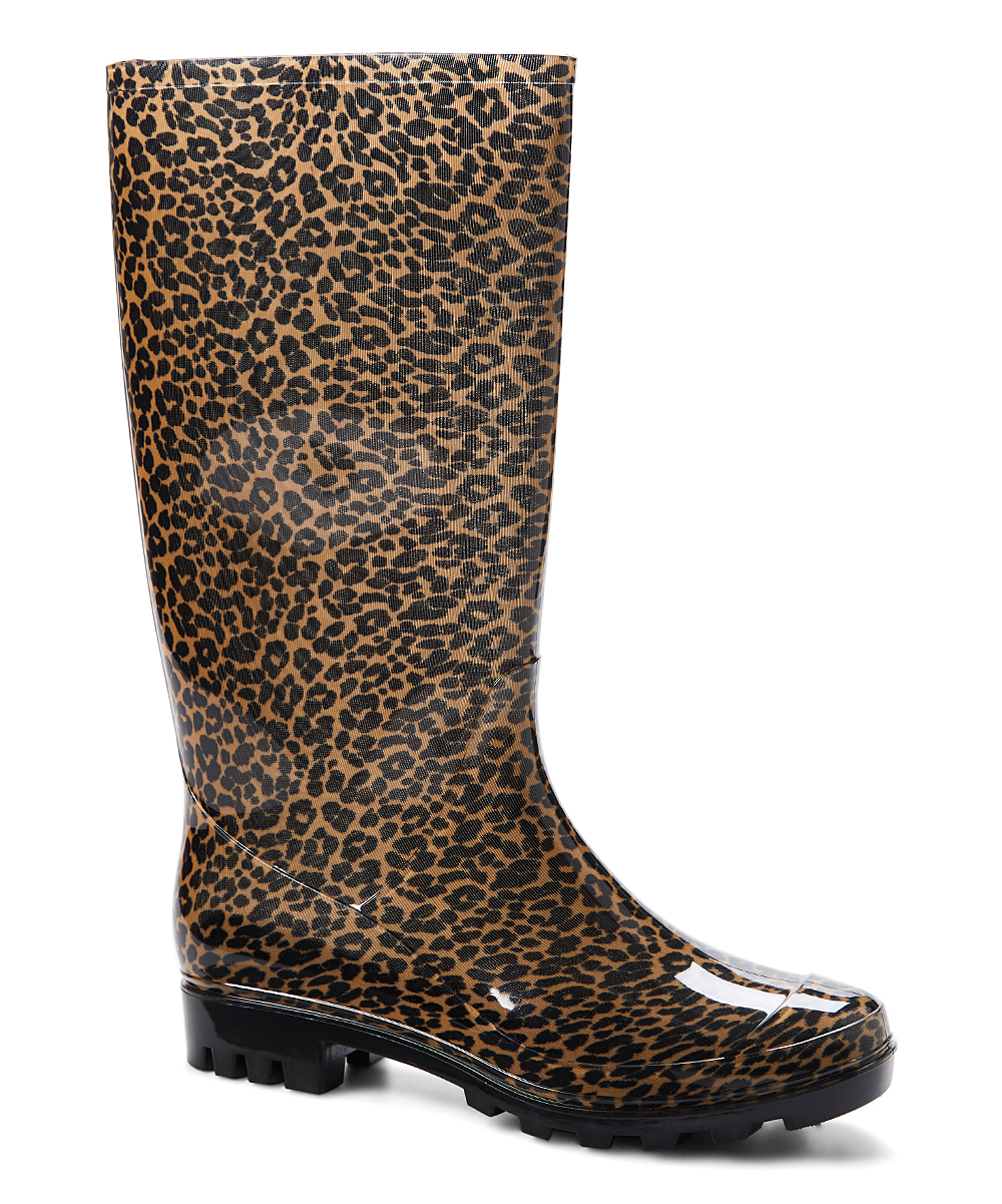 ad8226a83a17 GoldToe Tan Leopard Jelly Rain Boot - Women