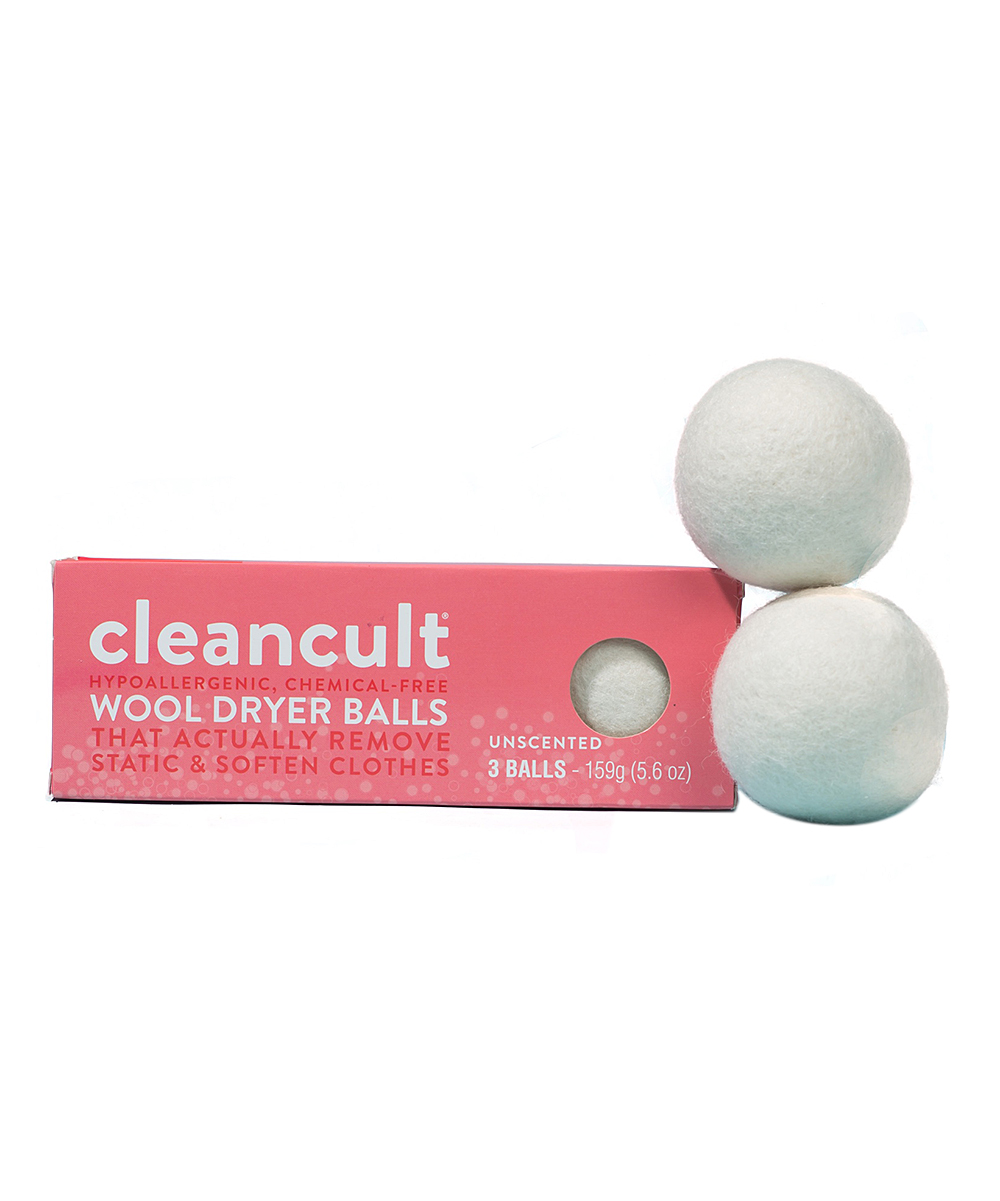 cleancult  Dryer Cloths Pink - 3-CT. Wool Dryer Ball 3-CT. Wool Dryer Ball. Ensure your laundry remains supersoft and free of static by popping one of these wool balls into your dryer. Give your clothes and towels a soothing scent by simply updating the ball with a few drops of your favorite essential oil. Includes three dryer ballsNew Zealand woolUnscentedHypoallergenicImported