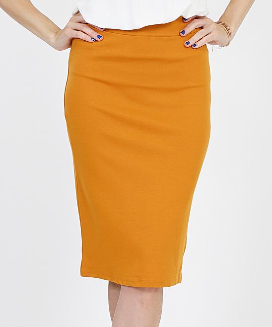 9a0d4050658b3f ... Womens DESERTMUSTARD Desert Mustard Ponte Pencil Skirt - Alternate  Image 2 ...
