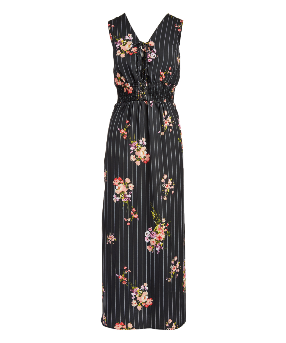 dbe410e72158 all gone. Black Coral Floral Smocked Maxi Dress