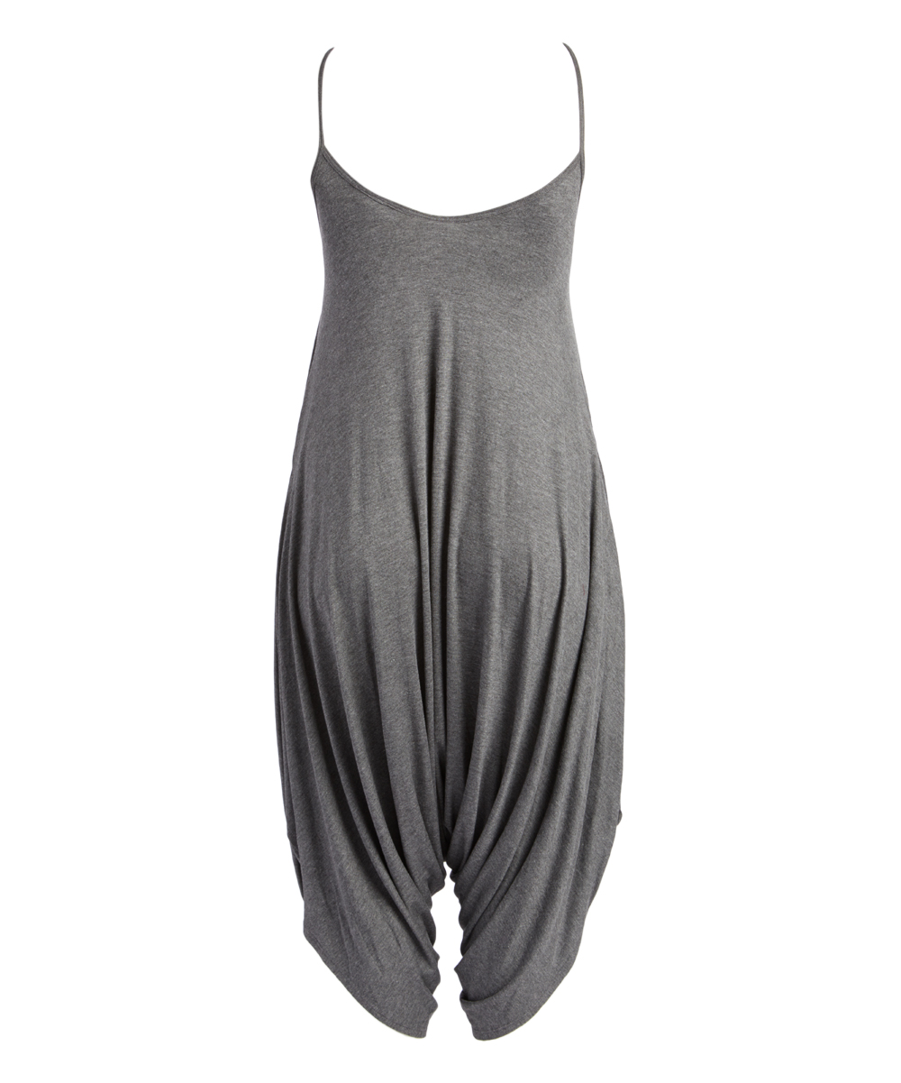 55ea797a404 ... Womens CHARCOAL HEATHER GREY Charcoal Gray Harem Jumpsuit - Alternate  Image 2