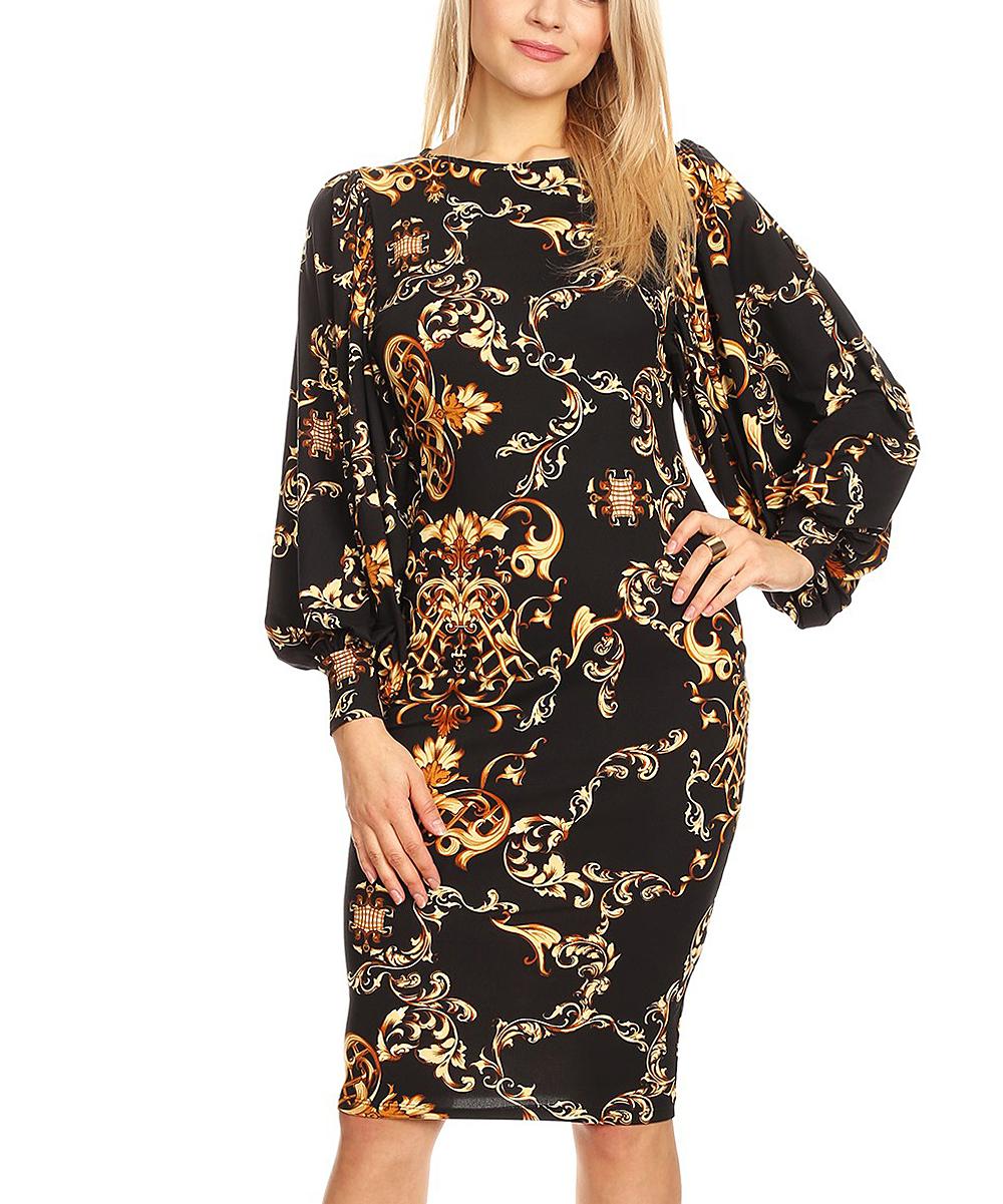 Karen T. Design Women's Casual Dresses MULTI - Black & Gold Geometric Shift Dress - Plus