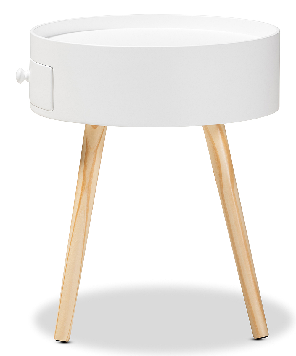 Baxton Studio White Jessen One Drawer Wood Nightstand