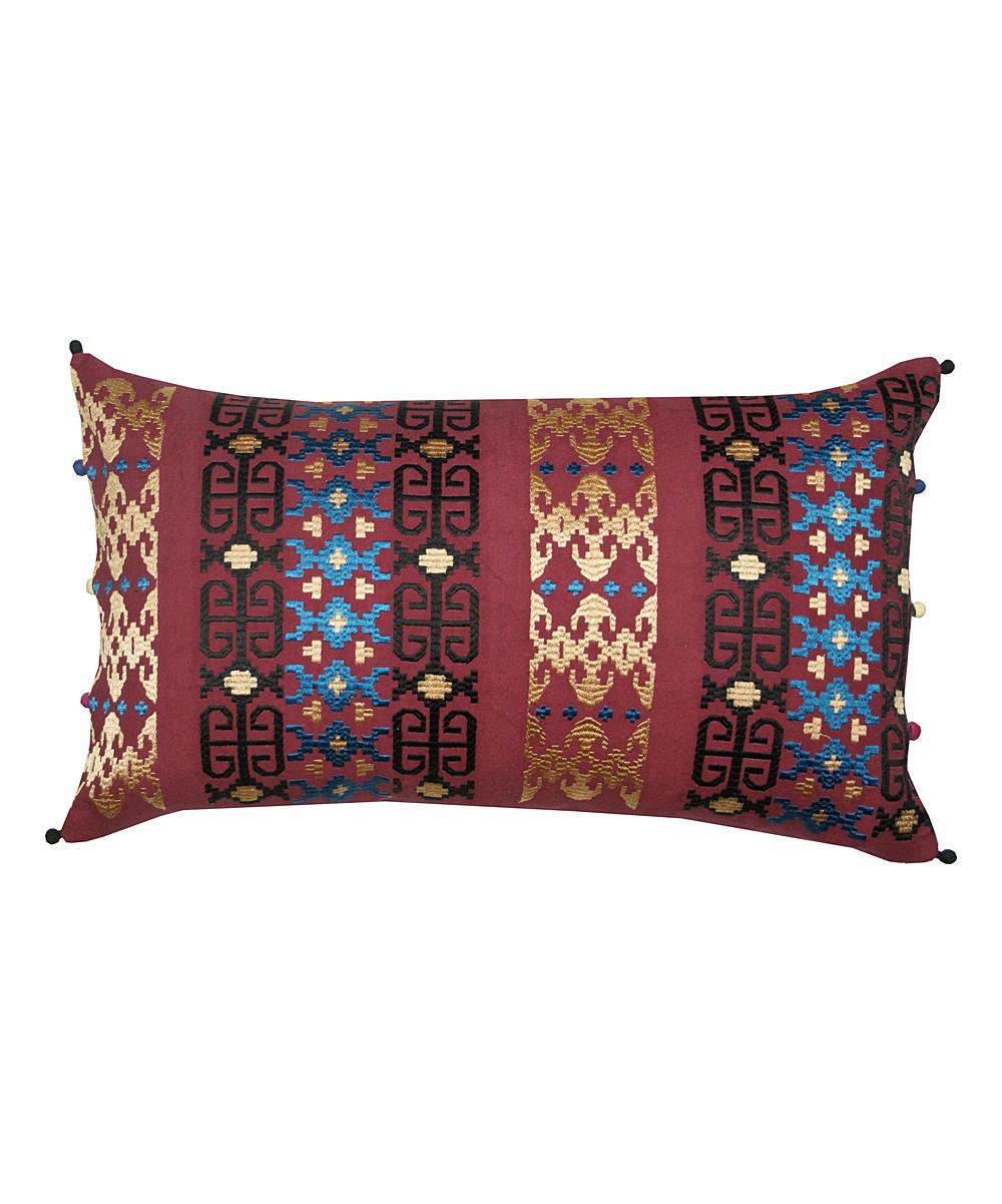 Divine Home  Throw Pillows  - Pom-Pom Embroidered Lumbar Throw Pillow