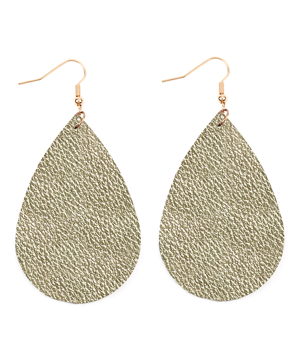 Metallic Goldtone Raindrop Leather Drop Earrings Metallic Goldtone Raindrop Leather Drop Earrings.  Grace your earlobes with subtle elegance courtesy of these leather drop earrings that draw attention due to their unique shape and design.1'' W x 2'' HPolyurethane leatherImported