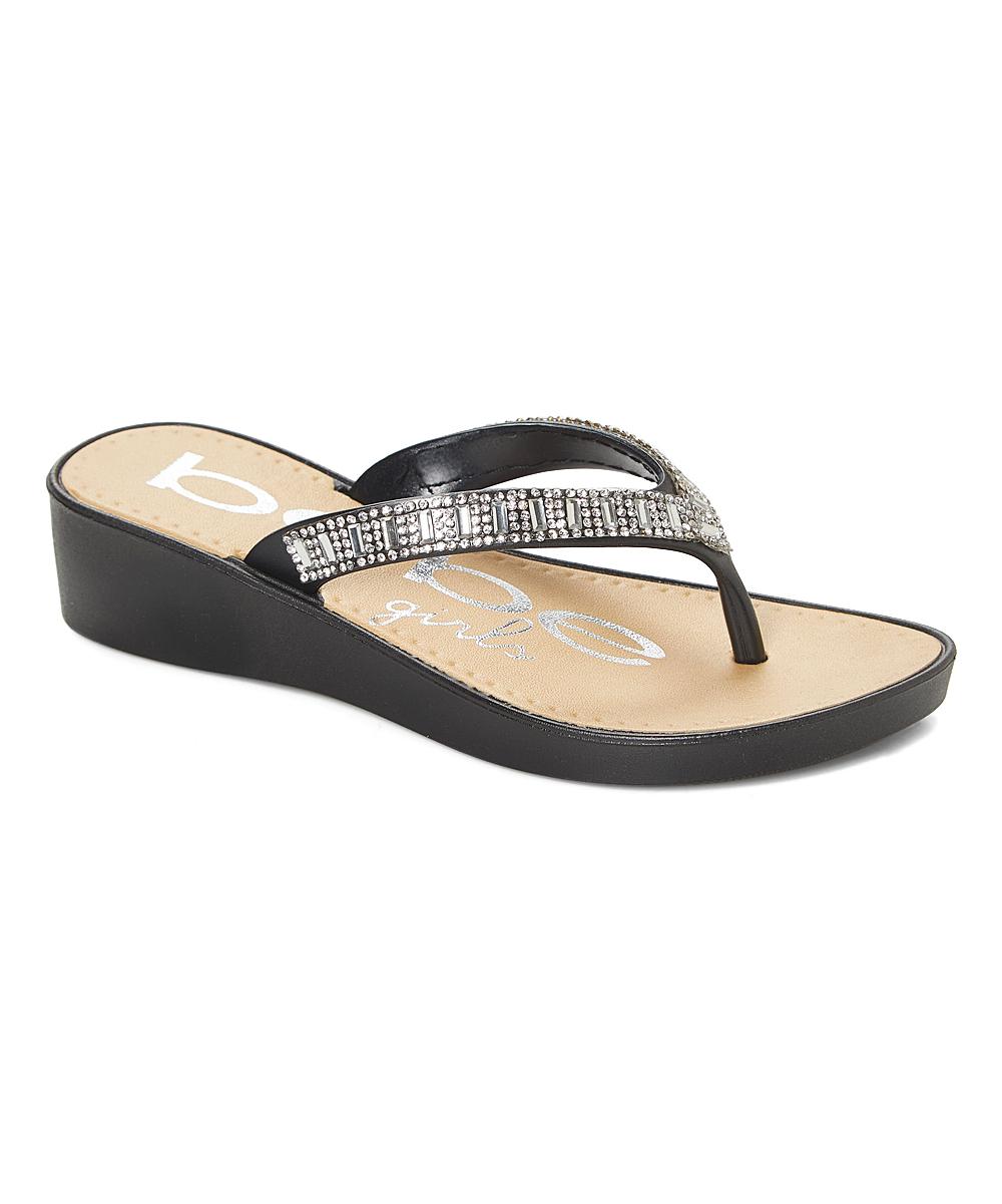 6749739f601ff bebe girls Black Rhinestone-Strap Wedge Flip-Flop - Girls