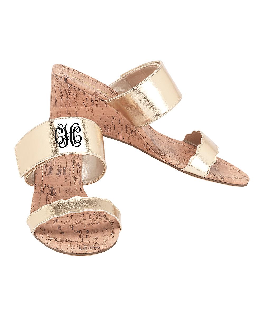 797bd8895eab2 Viv&Lou Gold Monogram Wedge Sandal - Women