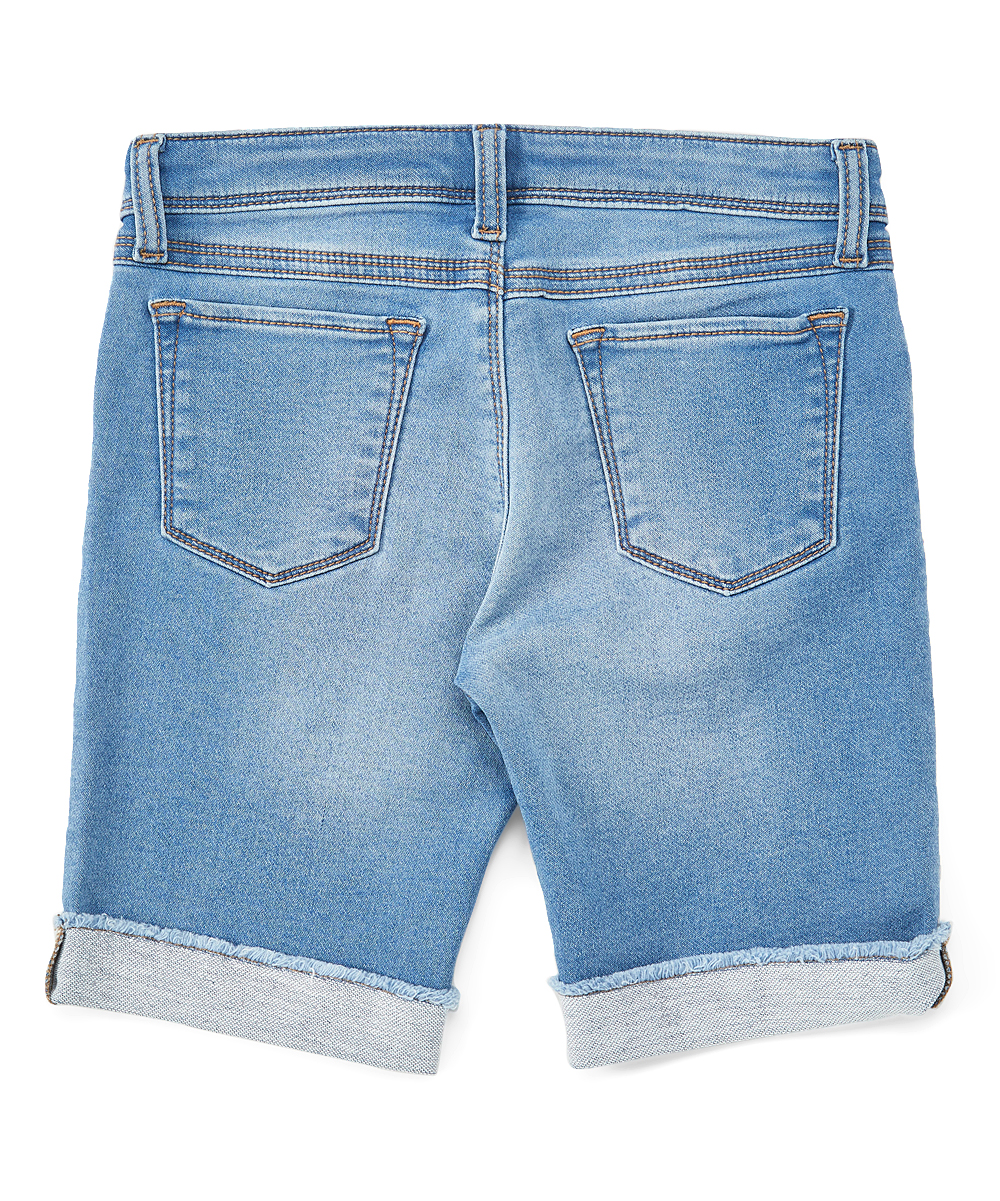 fbb2a2fe6d love this product Medium Light Wash Floral Embroidered Bermuda Shorts -  Girls