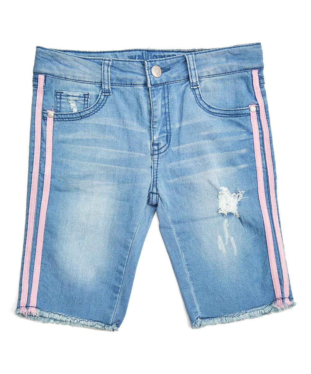 a3da996e17 WallFlower Light Wash & Pink Trim Bermuda Shorts - Girls | Zulily