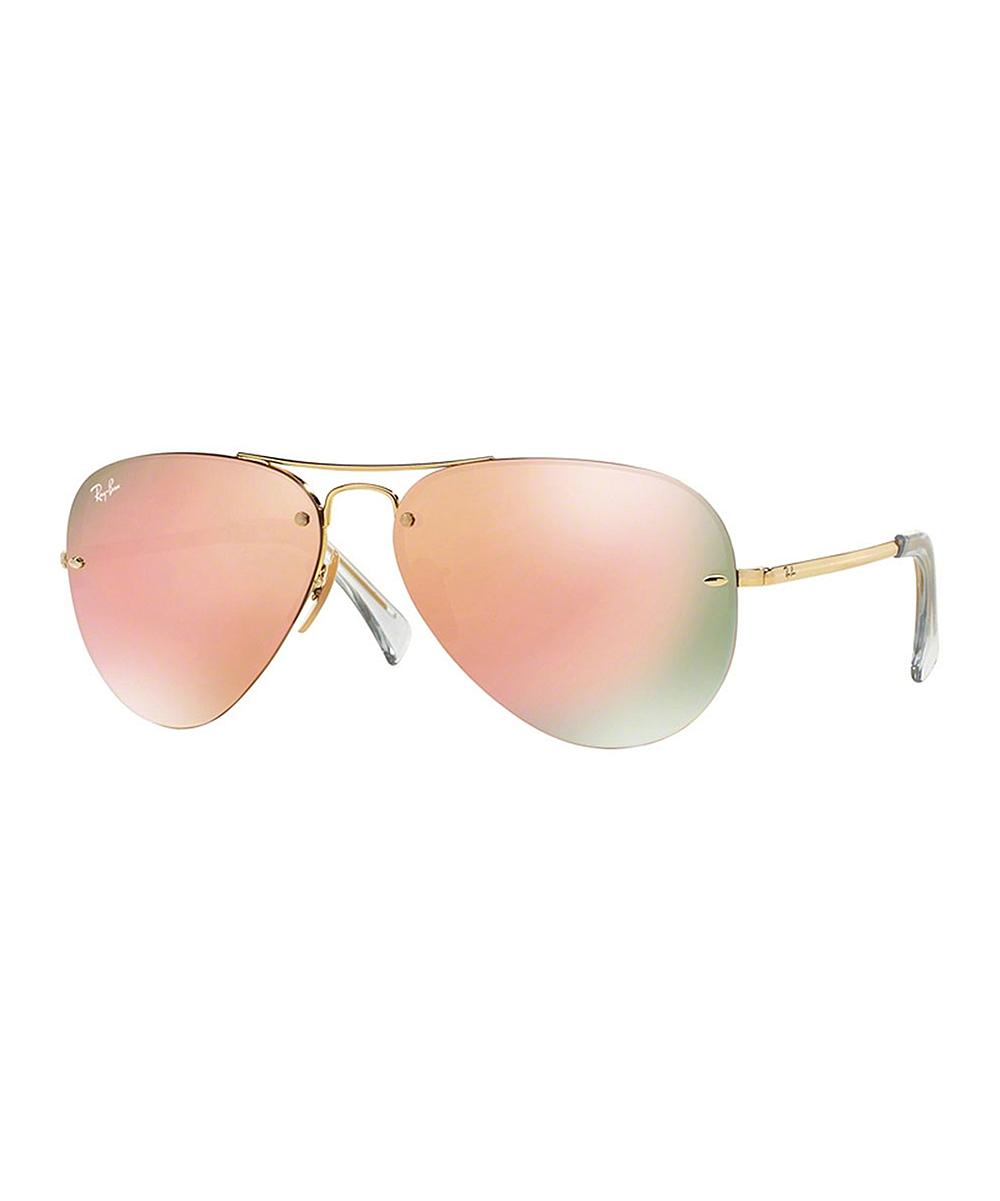 84c034f88419 Ray-Ban Goldtone & Rose Gradient Rimless Aviator Sunglasses - Unisex ...