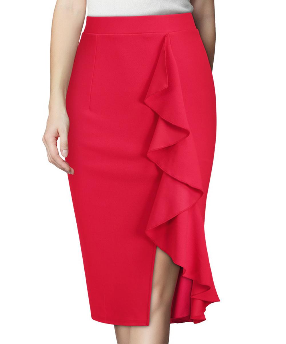 423e64a6b Knitee Red Ruffle-Accent Pencil Skirt | Zulily