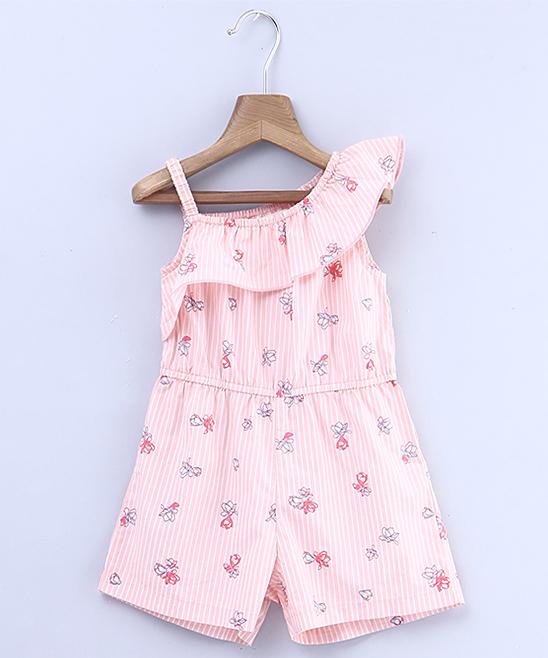 9df0df1ed66b Beebay Pink Floral Ruffle-Accent Liberty Asymmetrical Romper ...