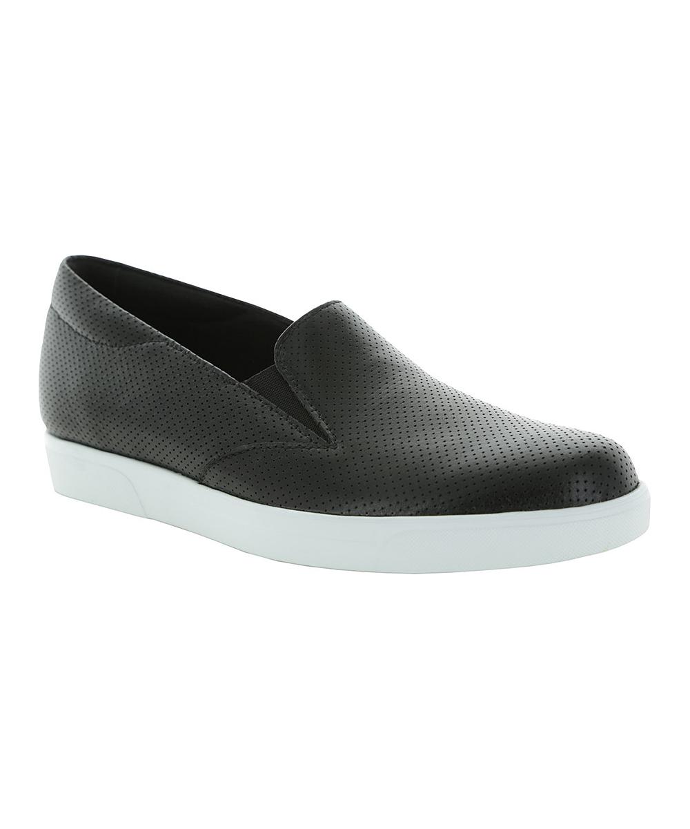 Munro Shoes Women's Sneakers BLACK - Black Lulu Leather Slip-On Sneaker - Women