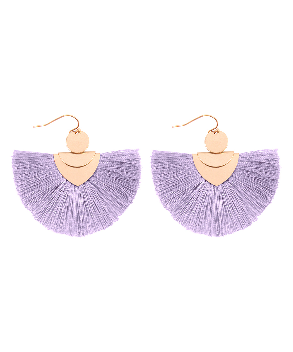 Lavender & Goldtone Fan Tassel Drop Earrings Lavender & Goldtone Fan Tassel Drop Earrings. Complete your everyday looks with boho appeal when you don these fluttering fan earrings in a vibrant, solid hue for versatility.  1.5'' W x 2'' LGoldtone base metal / polyesterImported