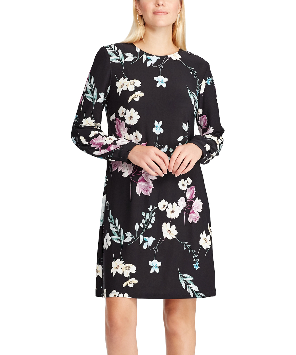 Chaps Black Lilac Floral Long Sleeve Dress Women Zulily
