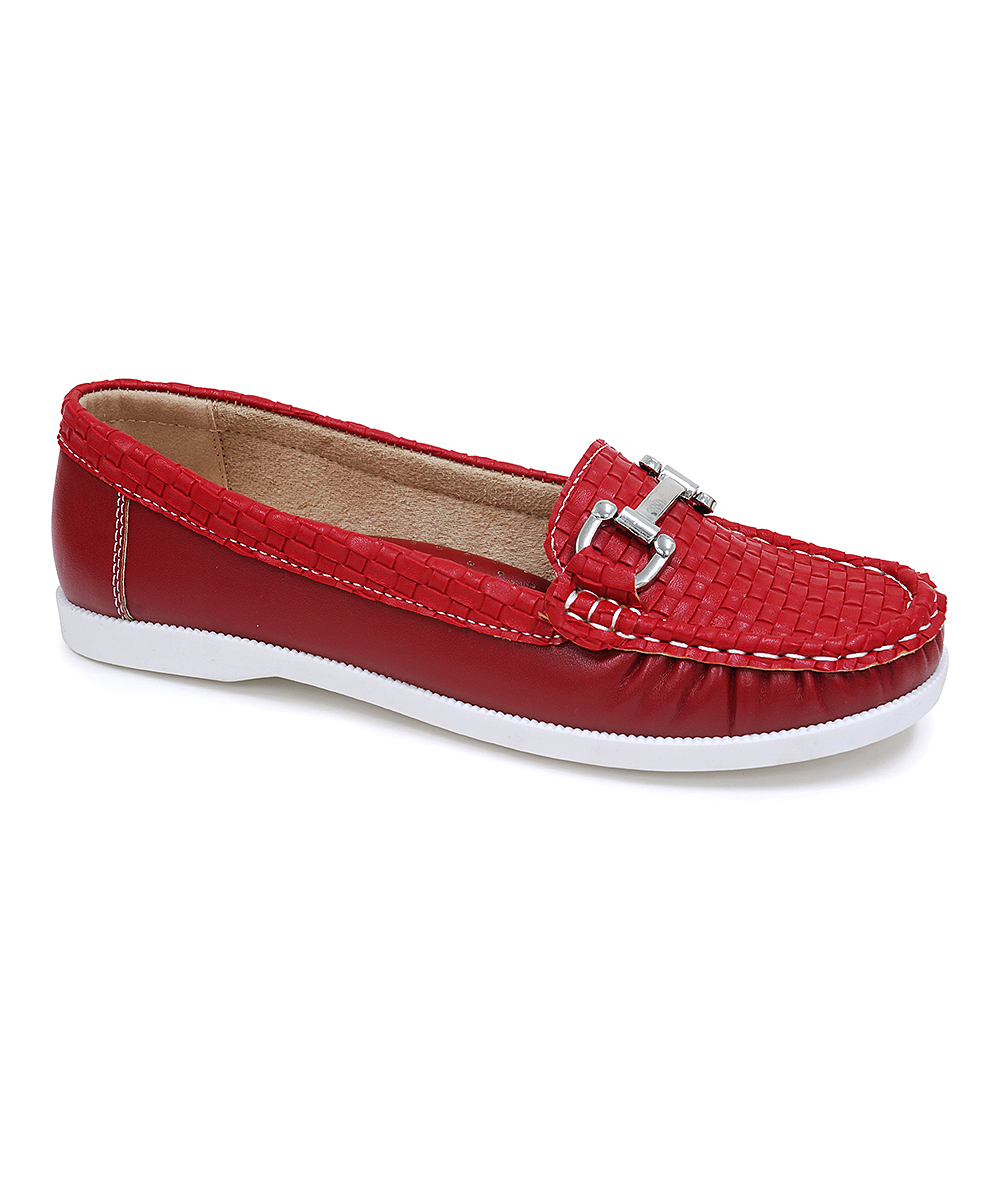 Spicy Footwear Women's Boat Shoes Red - Red Buckle-Accent Boat Shoe - Women