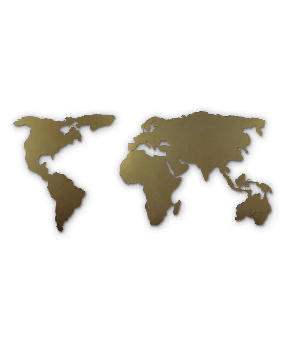 Gold World Map Wall Art.Wallity Gold World Map Silhouette Metal Wall Art Zulily