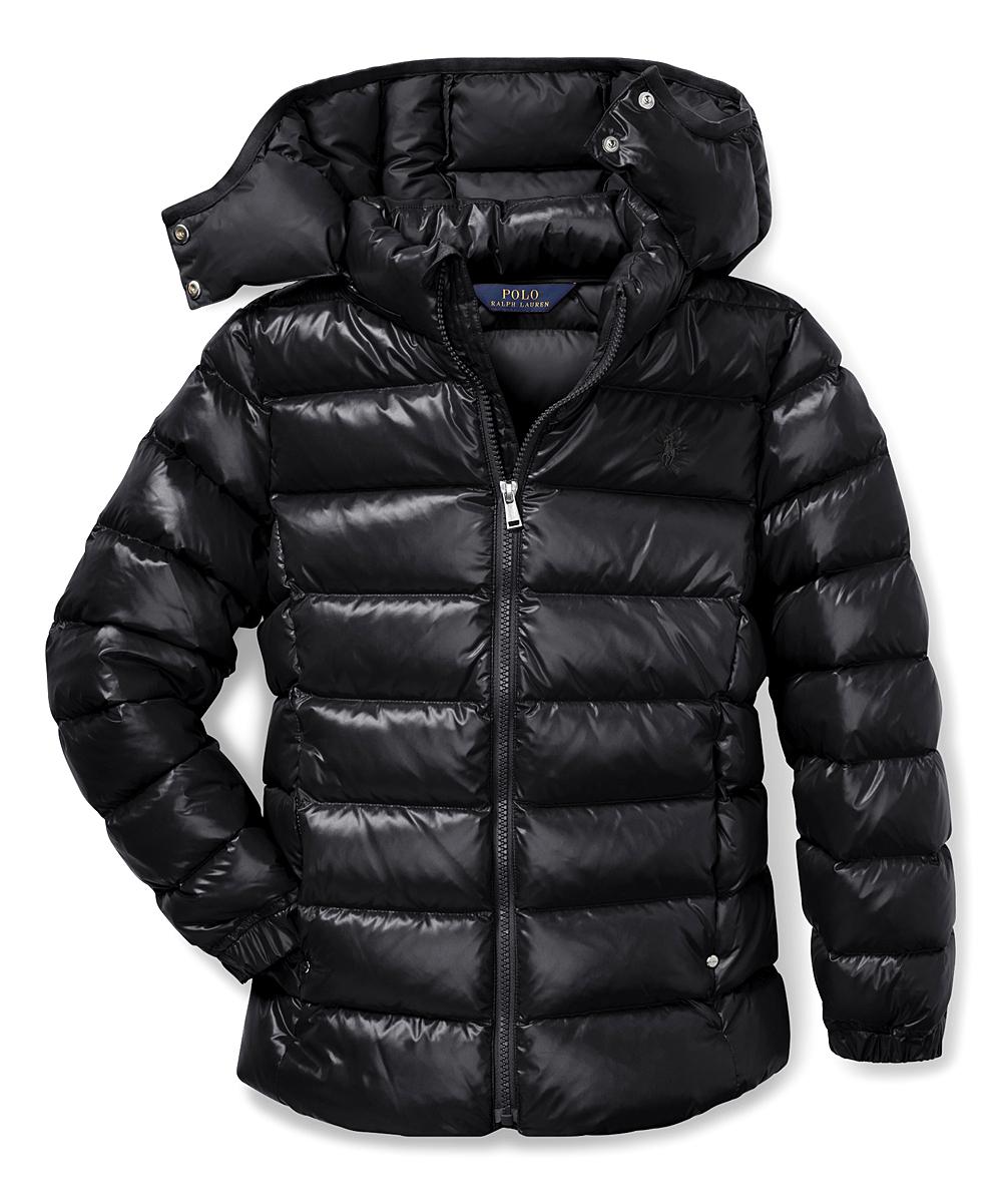 58deef1e6 Ralph Lauren Polo Black Removable-Hood Puffer Coat - Girls