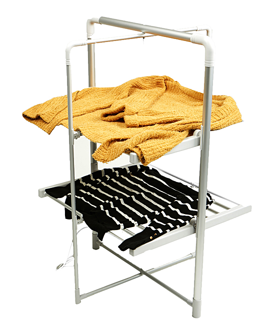 Silver & White Folding Two-Tier Drying Rack Silver & White Folding Two-Tier Drying Rack. Air dry your clothing and linens with this two-tier drying rack that folds up for out-of-the-way storage and convenient portability. 26'' W x 42.5'' H x 28.5'' DMetalImported