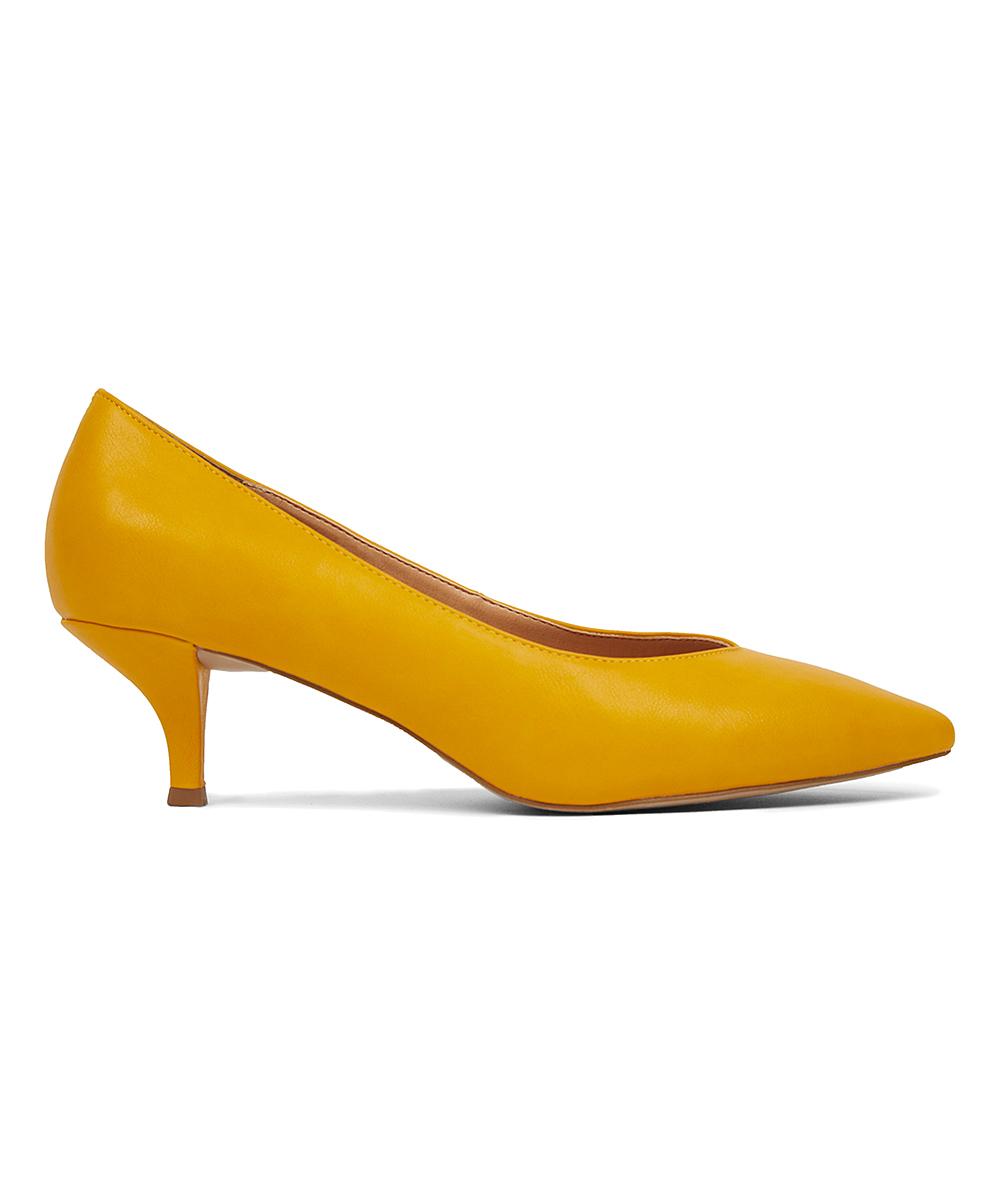 44d33a0da09 ELOQUII Bright Yellow Kitten Heel Pump - Women