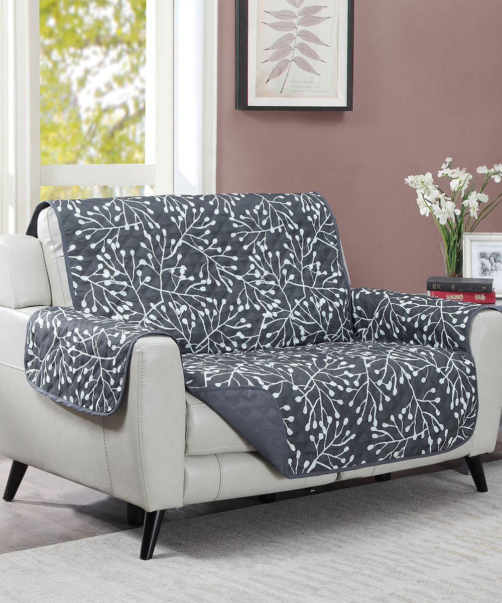 Universal Home Fashions  Throw Pillows Charcoal - Charcoal Reversible Biscayne Branches Furniture Protector