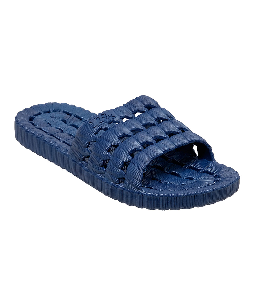 Navy Relax Slide - Men Navy Relax Slide - Men. Whether you're lounging by the pool or wading into the waves, these flexible slides fitted with holes to let water drain through keep your feet comfortable and protected.  Water drainage holesPVC soleImported