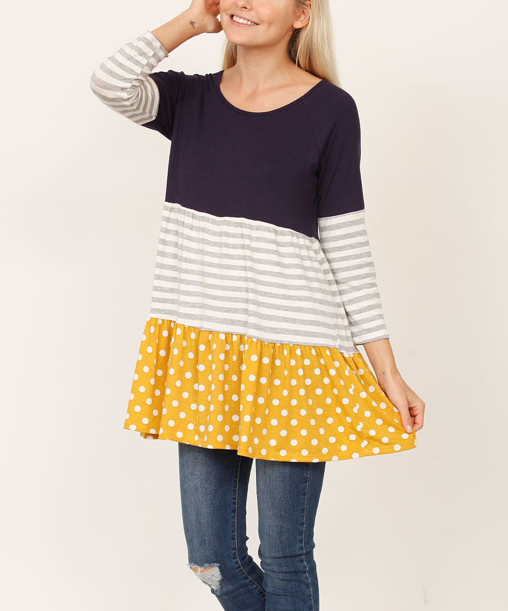 Egs éloges navy mustard polka dot tiered tunic women plus jpg 1000x1201 Navy  and mustard 3333b2003