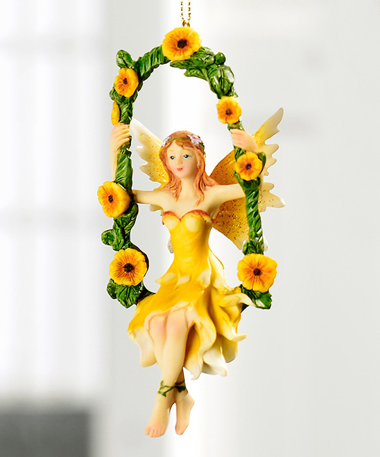 Giftcraft  Fairy Garden  - Yellow Fairy On Swing Hanging Figurine