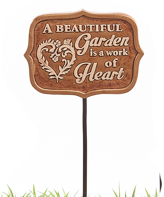 Bronze 'A Beautiful Garden is a Work of Heart' Garden Stake