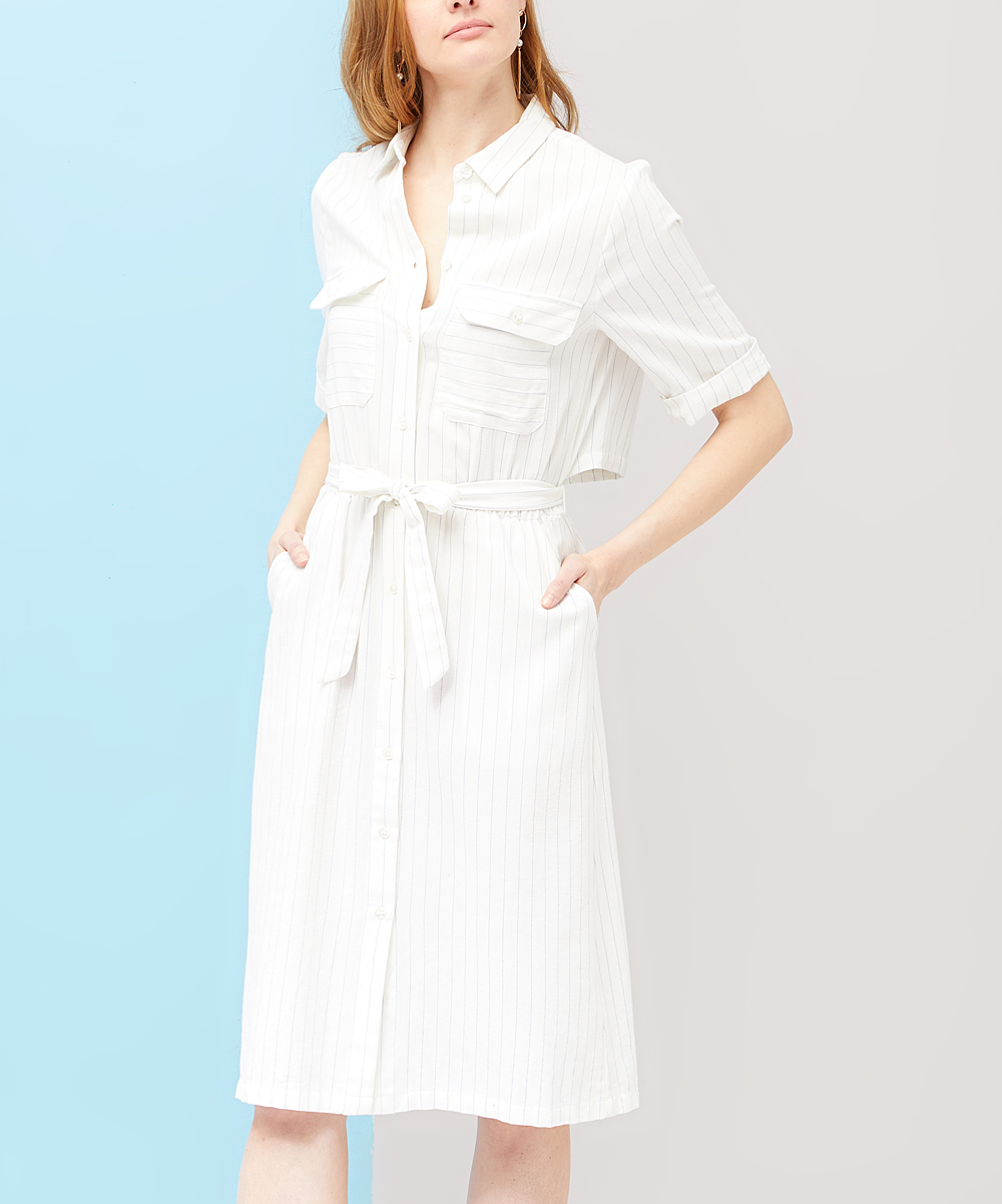 Frnch White Pocket Tie Waist Shirt Dress Women Zulily